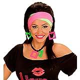 Neonfarbener Schmuck Neon-Ohrringe und Kette grelles Schmuckset knalliges 80er Accessoire Mottoparty Achtziger Party Outfit Zubehör