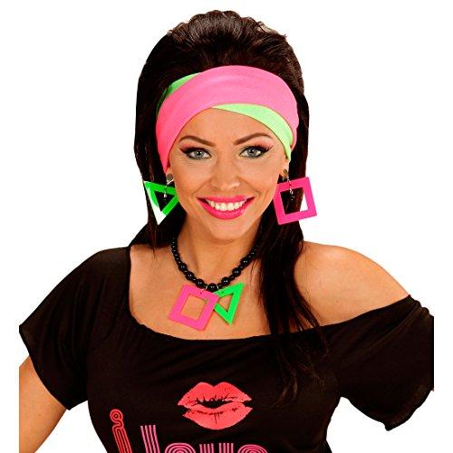 Neon-Ohrringe und Kette grelles Schmuckset knalliges 80er Accessoire Mottoparty Achtziger Party Outfit Zubehör (80 Schmuck)