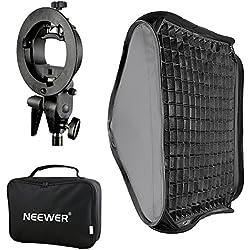 Neewer® 60 x 60 cm pour fixation Bowens pour boîte à lumière avec grille et type S pour flash pour Nikon SB-600, SB-800, SB-900, SB-910, Canon 380ex, 430ex II, 550EX, 580ex, II, 600EX-RT, Neewer Speedlite Flash tt560