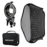 Neewer Softbox con Attacco Bowens e Griglia, Staffa Modello-S Flash per Nikon SB-600,SB-800,SB-900,SB-910,Canon 380EX,430EX II,550EX,580EX II,600EX-RT,Neewer TT560 Flash 24'x24'/60x60cm