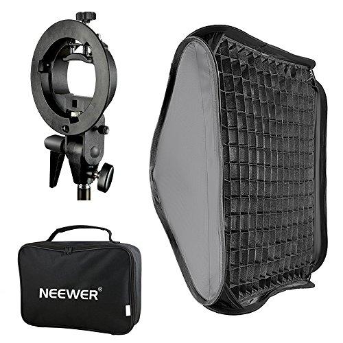 Neewer® 24x24 Zoll/60x60cm Bowens Mount Softbox mit Gitter und S-Typ Flash Bracket für Nikon SB-600, SB-800, SB-900, 910, Canon 380EX, 430EX II, 550EX, 580EX II, 600EX, NEEWER TT560 Flash Speedlite