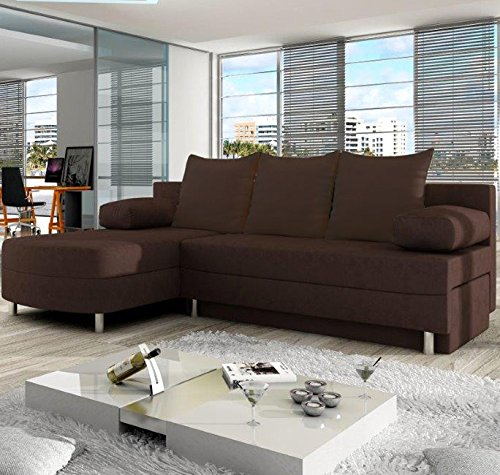 Muebles Bonitos - Sofá chaise longue modelo Alys Marron lado Izquierdo