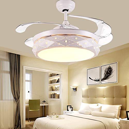 YZPFSD 42 Zoll einziehbarer Deckenventilator mit Fernbedienung Einfacher Stil for Home Design Farbwechsel Lichter Tricolor , Kronleuchter mit LED-Leuchten - for Indoor Outdoor (Size : 42inch) -