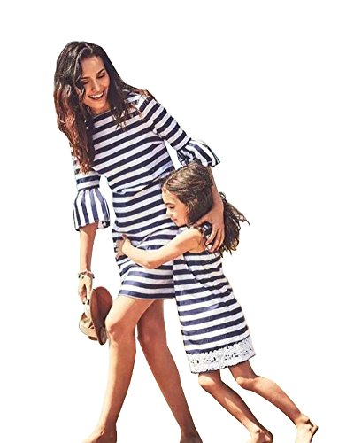 Tochter Halloween Kostüm Mutter - Minetom Mütter und Tochter Familie Sommerkleid Streifen Maniche Tromba Kleider Spitze MiniKleid A Linie Strandkleid Partykleid A Blau 110 (Tochter)
