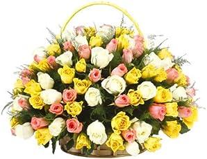 Floralbay Special Basket Arrangement of 100 Mix Roses Fresh Flowers