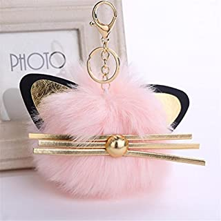 Artistic9(TM) Cute Cat Ears Keychain Pendant Women Key Ring Holder Car Schoolbag Pompom Key Chains (Pink)
