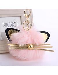 Joli porte-clés avec oreilles de chat pendentif pour femme porte-clés pour voiture cartable pompon porte-clés, rose, 12x12cm
