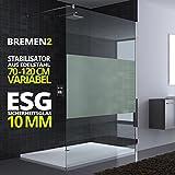 50x200 cm Luxus Duschwand aus Echtglas Bremen2MS, Stabilisator 4-eckig, 10mm ESG Sicherheitsglas Milchglas-Streifen, inkl. Nanobeschichtung