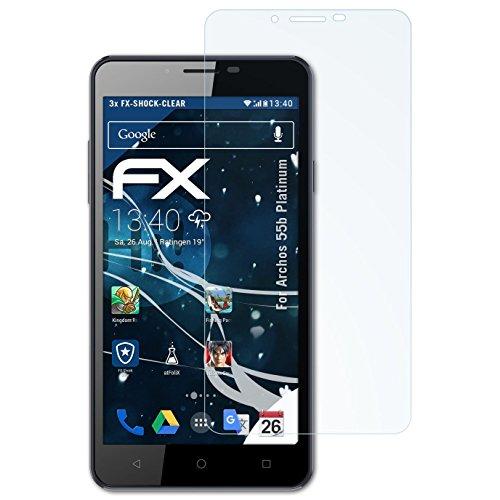 atFolix Schutzfolie kompatibel mit Archos 55b Platinum Panzerfolie, ultraklare und stoßdämpfende FX Folie (3X)