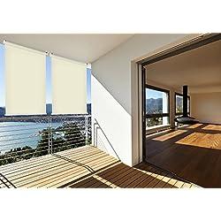 Sonnen-schutz Außen-rollo Balkon-rollo 140 x 140 cm beige creme Balkon-sicht-schutz 1 Stück