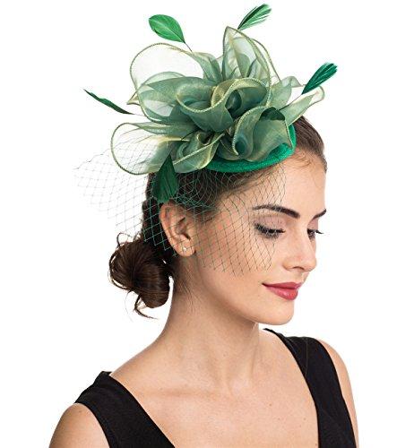 Fascinators Hut Cocktail Party Tee Kopfbedeckung Blume Mesh Organza Bänder Federn auf einem Stirnband und Gabel Clip für Mädchen und Damen (Floral Mesh grün) (Grüne Derby Kind Hat)