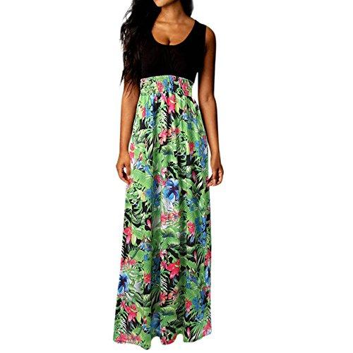 Heißer verkauf, kleider damen liusdh Plus Size ärmellose gestreifte Patchwork Taille lange Dame Boho Kleid Strand Sommer Sommerkleid Maxi-Kleid(Black6,XL)