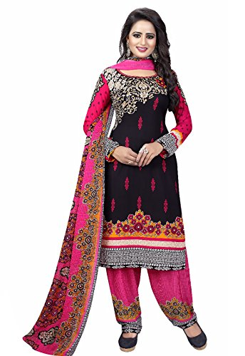 Ishin Synthetic Black & Pink Party Wear Wedding Wear Bollywood New Collection Latest Design Casual Wear Printed Unstitched Salwar Suit Dress Material (Anarkali/Patiyala) With Dupatta