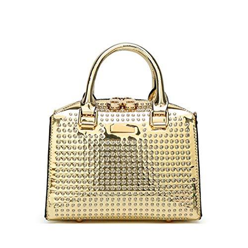 XIAOXINYUAN Frauen Umhängetasche Weibliche Nieten Lässig Umhängetasche Damen Kleine Quadratische Tasche Gold