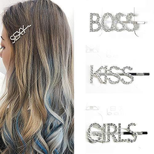 Daimay 3 Stücke Haarspange mit Lustigem Strass Buchstaben Großbuchstaben Wörter Haarnadeln Glitter Verschönerung Seite Gerade Haarspangen Mädchen koreanischen Stil Boss Kiss Girls (Girl Kiss Kostüm)