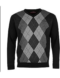 Pierre Cardin Argyle Knit Pull pour homme Noir/gris anthracite Pull Top