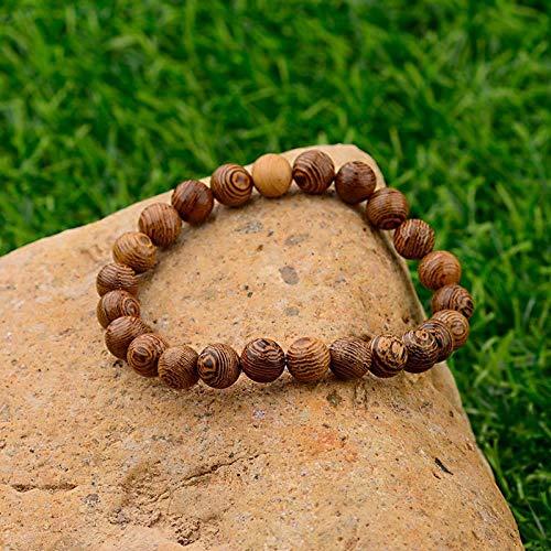 LINWEN Armband Ethnische Gebet 8 Mm Holz Armband Herren Unisex handgemachte Meditation Armband weiblich männlich Schmuck - Holz Geschnitzt Shell