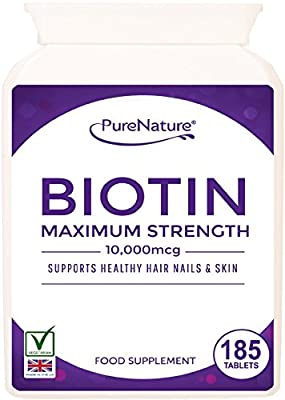 "Biotin Hair Growth Stronger & Thicker Hair 185 Tablets (Full 6 Month Supply) 10,000mcg Double Strength Vitamin B7 Easy to Swallow For Hair Loss & Supports the Growth & Maintenance of Healthy Hair Nails & Skin for Women and Men. PureNature Rated ""BEST BUY"""