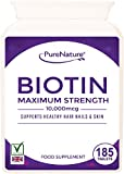 """Biotin Hair Growth Stronger & Thicker Hair 185 Tablets (Full 6 Month Supply) 10,000mcg Double Strength Vitamin B7 Easy to Swallow For Hair Loss & Supports the Growth & Maintenance of Healthy Hair Nails & Skin for Women and Men. PureNature Rated """"BEST BUY"""" as Featured in the Telegraph Health Clinic Magazine-100% Quality Assured Money Back Guarantee-FREE UK DELIVERY"""