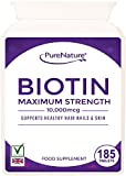 Biotin Hair Growth Stronger & Thicker Hair 185 Tablets (Full 6 Month Supply) 10,000mcg Double Strength Vitamin B7 Easy to Swallow For Hair Loss & Supports the Growth & Maintenance of Healthy Hair Nails & Skin for Women and Men. PureNature Rated
