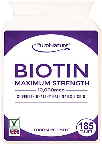 """Biotin 185 Tablets 6 Month Supply 10,000mcg Double Strength Hair Growth Stronger & Thicker Hair Vitamin B7 Easy to Swallow For Hair Loss & Supports the Growth & Maintenance of Healthy Hair Nails & Skin for Women and Men. PureNature Rated """"BEST BUY"""" as Featured in the Telegraph Health Clinic Magazine-100% Quality Assured Money Back Guarantee - FREE UK DELIVERY Test"""
