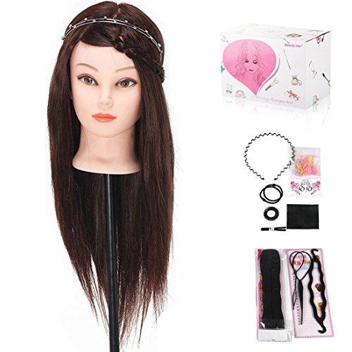 Beauty Star® 50CM 40% Cheveux Brun Long Naturel Tête À Coiffer Coiffure Femme Mannequin+Titulaire
