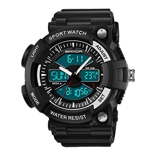 SJY Männer Sportuhr Wasserdichte Digitaluhr Temperaturanzeige Uhr Große Zifferblatt Außenuhr Zeiger Digitaluhr Leuchtende Armbanduhr Trend Mode Uhr,Blacksilver