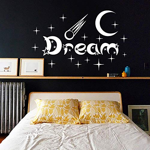New Design Bedroom Wall Stickers Moon And Stars Home Decor Vinyl Removable White Dream Wall D59cm X 93cm
