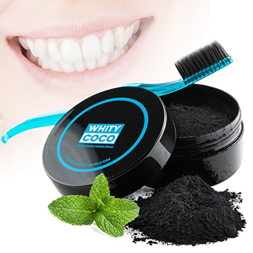Whity Coco Aktivkohle Zahnpolitur 30g + Zahnbürste mit Bambus Borsten, Zahnaufheller für natürlich weiße Zähne Zahn Bleaching, frischer Atem, helle Zähne natürliche Zahnaufhellung, aktiv Kohle, von WH -