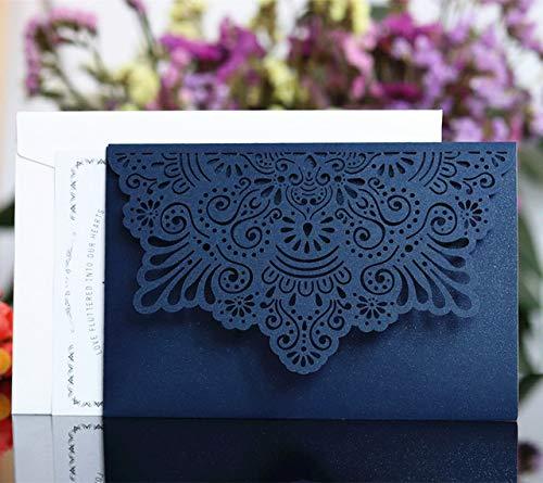 ZheQR Elegant Card Invitation Customized Pocket tri Folding Business Invitation Card White Blue Flower Laser Cutting 50pcs/Lot,Dark Blue,Customized Printing (Einladungen Pocket White)