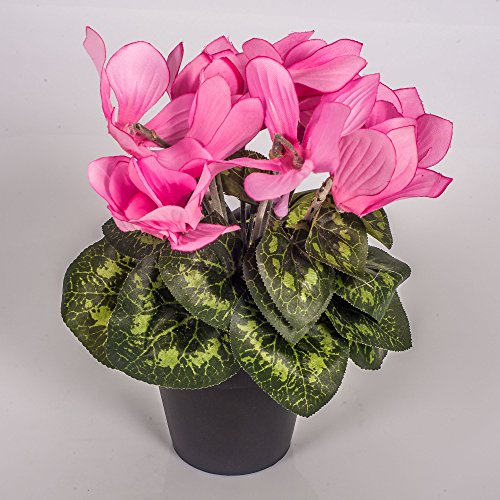 artplants – Kunstblume Alpenveilchen Heidi im Topf, 12 Blüten, rosa, 25 cm – Künstliche Blumen/Dekoblumen Cyclamen