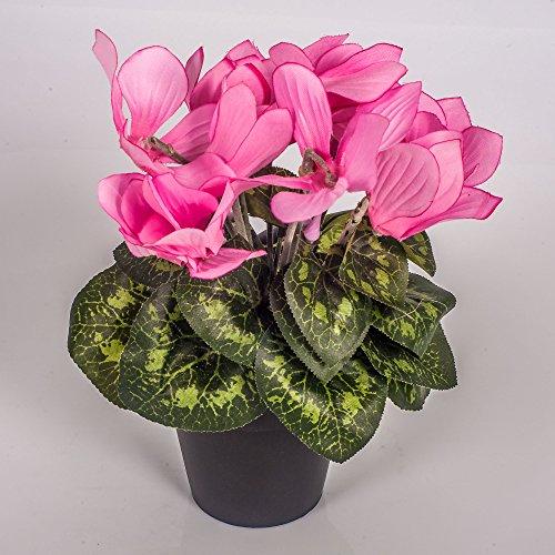 artplants Set 2 x Kunstblume Alpenveilchen im Topf, 12 Blüten, rosa, 25 cm – Mini Kunstblumen/Dekoblumen klein
