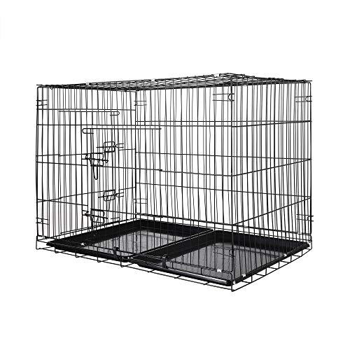 Zelsius Transportkäfig | Hundebox | Hundekäfig | Drahtkäfig für Hund Katze klein bis groß | S - XXL | mit 2 Türen | faltbar (XL - 106 x 70 x 77 cm)
