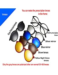 Vast Polarized 5 IN 1 Clip Sunglasses Plus Round Spectacle Frame (5 IN 1)
