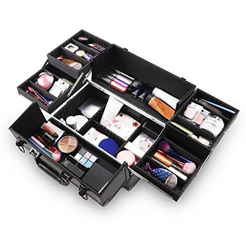 Ovonni Mallette Maquillage Valise de Maquillage Vanity-Case Professionnelle en Aluminium avec Serrure Délicate et Clé pour Studio de Beauté Cosmétique - Noir
