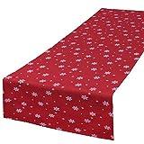 Tischläufer SNOW rot / 40x140 cm / moderne Tischdecke zu Weihnachten