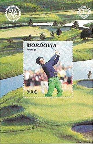Briefmarken für Sammler-perforfated Stempel Blatt mit Golf/Golfplatz/Golfer/Mordwinien/Löwen International/Rotary International -