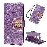 Motorola Moto E5 Plus Hülle Case HandyHülle Leder Flipcase Glitter Diamant Mehrfache Karte Spiegel Schutzhülle Bookstyle Brieftasche Ständer Kartenfächer Magnetverschluss Tasche Lila