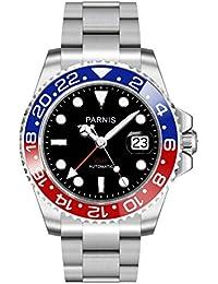 NUEVO! Modelo 2034 PARNIS RED & Blue GMT rhöna-hombre de acero inoxidable con cristal de zafiro ø40mm 5BAR marcas reloj pulsera de acero inoxidable con indicador de fecha