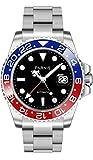 NEW! Modello PARNIS 2034 RED & BLUE GMT Edelstahl Ø40mm vetro zaffiro Automatik-Herrenuhr 5BAR Bracciale in acciaio movimento del marchio data