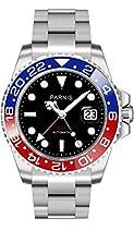 PARNIS GMT Automatikuhr 2034 RED & BLUE Herrenuhr Edelstahl Ø40mm Saphirglas 5BAR Edelstahlarmband Markenuhrwerk Datumsanzeige