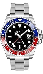 PARNIS GMT-Herrenuhr 2034 RED & BLUE Automatikuhr mit zweiter Zeitzone, Saphirglas und Datumslupe - 40mm Automatik-Armbanduhr