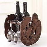 ADHOSJO Dekoration für Redwood zu Hause Weinregal, Wohnzimmer Weinflasche Halter, High-End-Weinglas-Halter, hölzerne kreative Stängelware auf dem Kopf