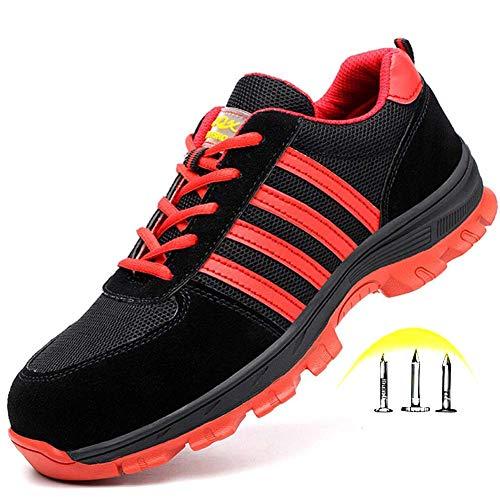 GPFSHOES Damen Herren Arbeitssneaker Sicherheitsschuhe Echtleder Stahlkappe Schuhe stoßfest Deo pannensicher Wandern Unisex, rot, 44EU - Echtleder-plattform