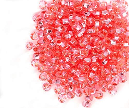 20g Kristall Rosa Rose Solgel Runde Silber Ausgekleidet Tschechische Glas Rocailles, PRECIOSA-Perlen, Rocaille Spacer 10/0 2,3 mm - Tschechische Kristall Gläser
