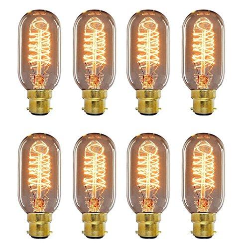 wootly Vintage Edison Leuchtmittel, 40Watt warm Leuchtmittel mit Eichhörnchen Käfig Filament und glatten Bernstein Glas Schale, T45Glühbirne, 220Volt, B22Bajonett, 120Lumen, Glas, B22 40.00 wattsW 220.00 voltsV (Käfig 4 Light-anhänger)