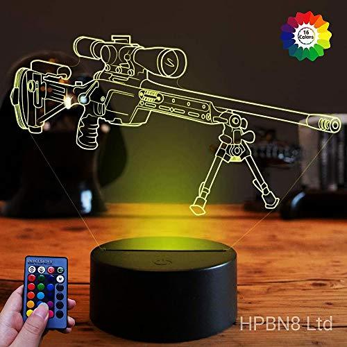 HPBN8 Ltd Optical Illusions 3D Scharfschützengewehr Nacht Licht LED Lampen Fernbedienung USB Power 7/16 Farben 3D LED Lampe Formen Kinder Schlafzimmer Geburtstag Weihnachten Geschenke -