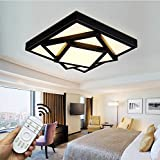 Style home 30W LED Deckenleuchte für Wohnzimmer Schlafzimmer Kinderzimmer Küche voll dimmbar mit Fernbedienung Schwarz Quadratisch 6906F