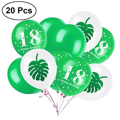 Tinksky 20 Unids 12 Pulgadas de Globos de Látex 18 Fiesta de Cumpleaños Palm Globos Favores Suministros Hawaiano Luau Decoraciones (Verde)