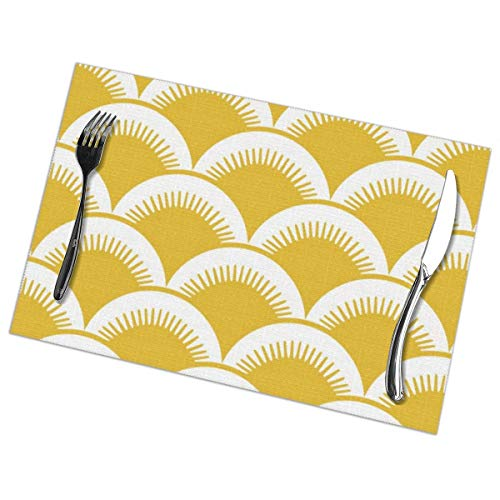 MrRui Table Mats Set of 6 Esstisch-Platzsets Japanese Fish Scales Pale Mustard Yellow Placemats for Dining Table Washable Table Mats 12x18 Inch Blue Fish Serving Set